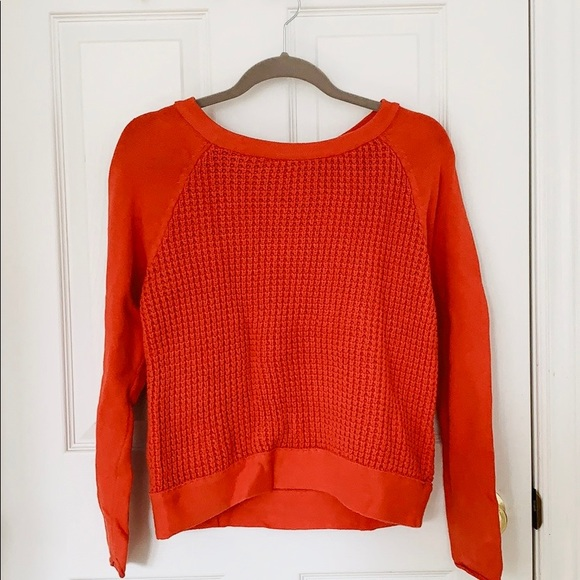 Forever21 red/ orange cotton knit long sleeve top